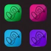 Blueprint ručně kreslený nástroj čtyři barvy skleněné tlačítko ikona