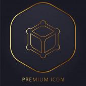 3D Cube Golden Line Premium Logo oder Symbol