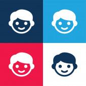 Chlapec modrá a červená čtyři barvy minimální ikona nastavena
