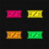 Kunsthandwerk Mosaik von Mexiko vier Farben leuchtenden Neon-Vektor-Symbol