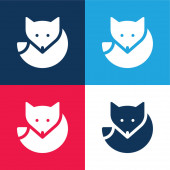 Arctic Fox blue and red four color minimal icon set