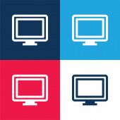 Big Computer Monitor kék és piros négy szín minimális ikon készlet