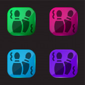 Bowling Pins four color glass button icon