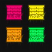 Ziegelsteinmauer mit Grasblättern Rand vier Farben leuchtenden Neon-Vektor-Symbol