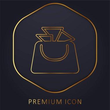 Bag For Ladies golden line premium logo or icon