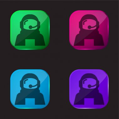 Astronaut Helmet Protection For Outer Space four color glass button icon stock vector
