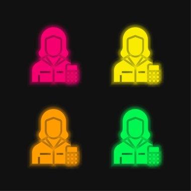 Muhasebeci dört renk parlayan neon vektör simgesi