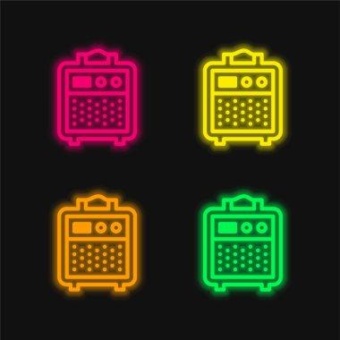 Amplifier four color glowing neon vector icon stock vector