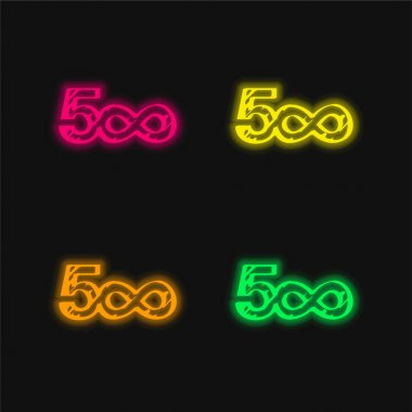 500 Sketched Social Logo With Infinite Symbol four color glowing neon vector icon stock vector