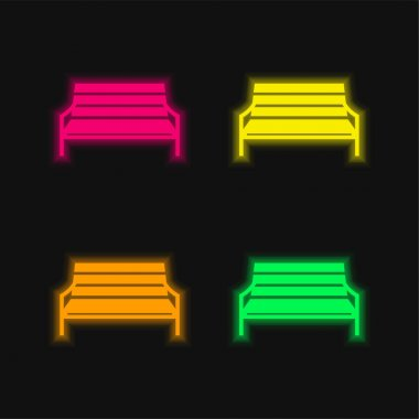 Bench four color glowing neon vector icon stock vector