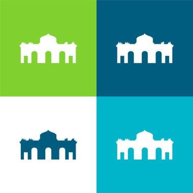 Alcala Gate Spain Flat four color minimal icon set