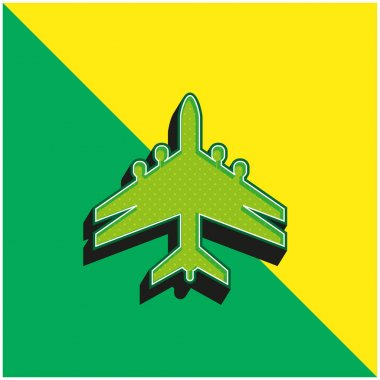 Airplane Black Shape With Double Wings Green and yellow modern 3d vector icon logo stock vector