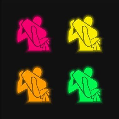 Aquarius four color glowing neon vector icon stock vector