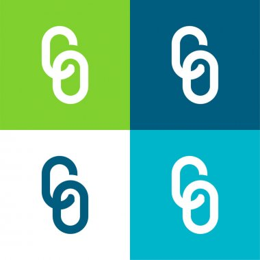 Big Chain Flat four color minimal icon set stock vector
