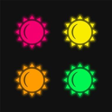Big Sun four color glowing neon vector icon stock vector