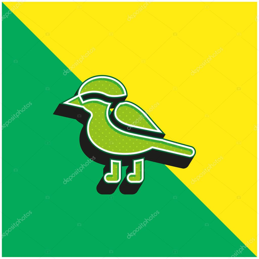 Bird Green and yellow modern 3d vector icon logo stock vector