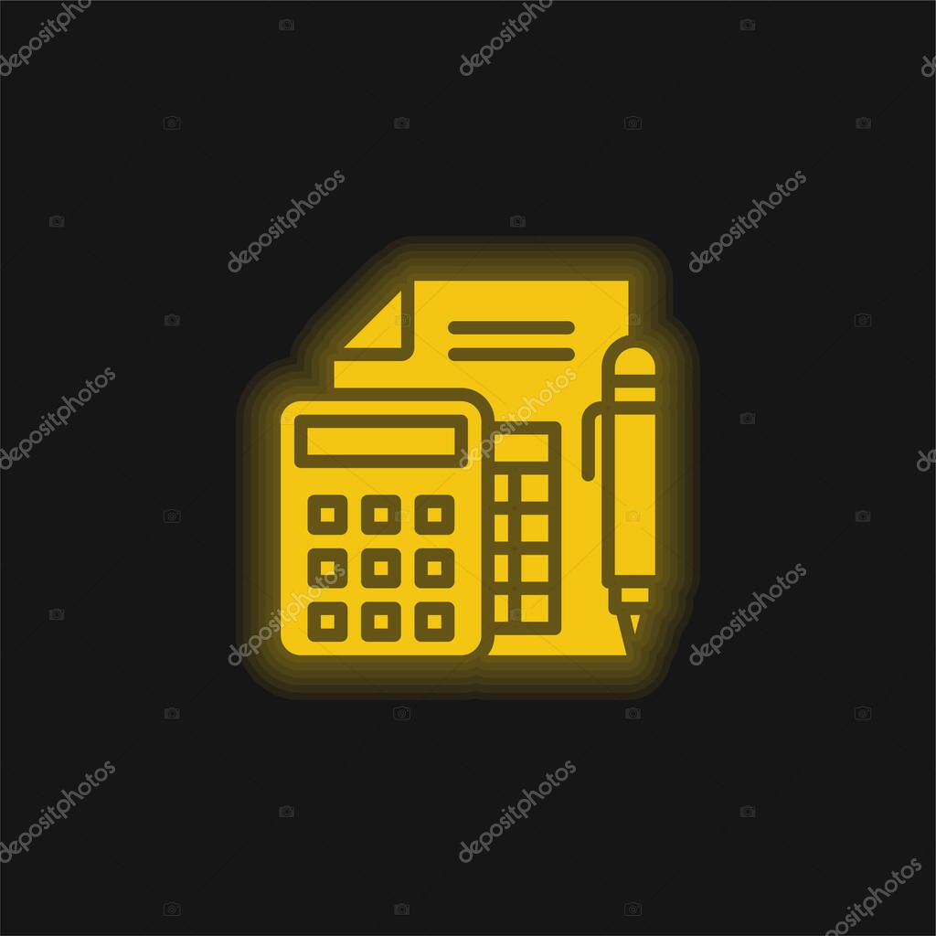 Accounting yellow glowing neon icon stock vector