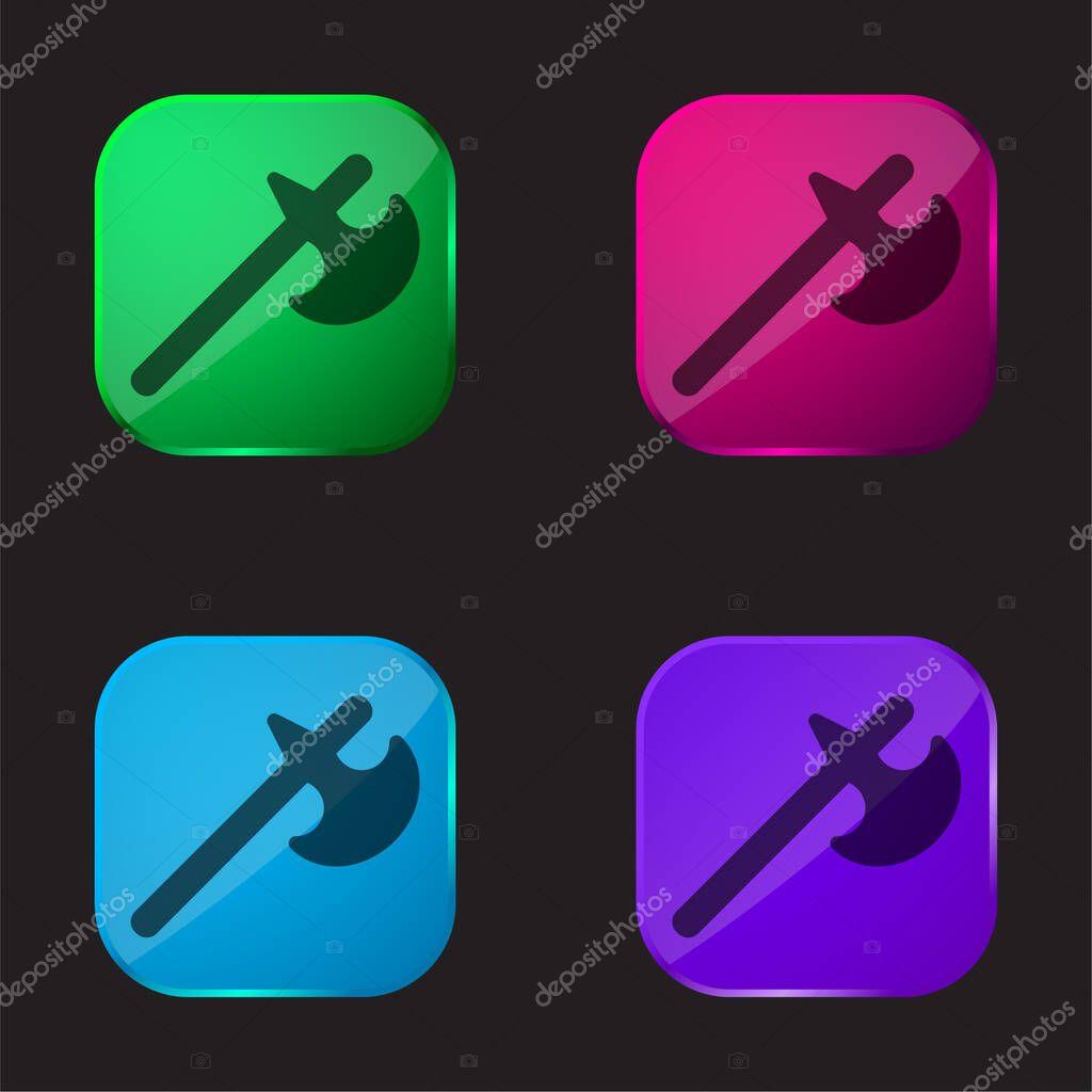Battle Axe four color glass button icon stock vector
