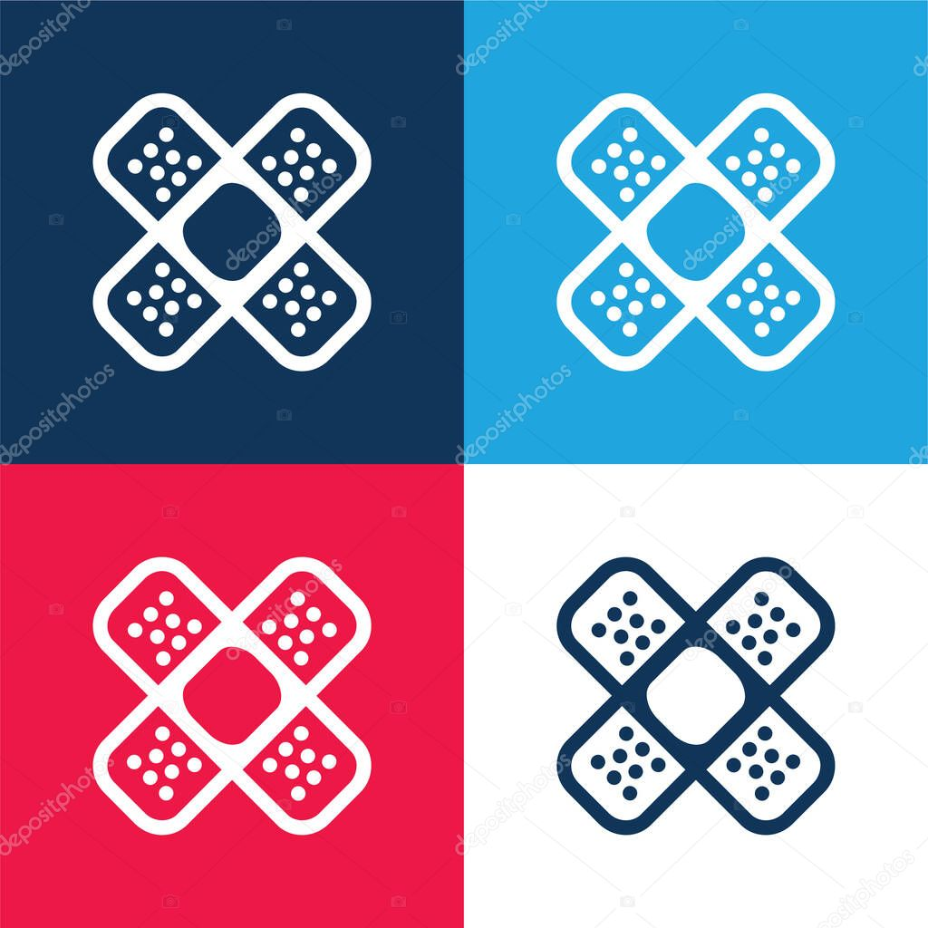 Band Aids Cross blue and red four color minimal icon set stock vector