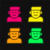 Vztek čtyři barvy zářící neonový vektor ikona