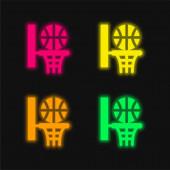 Basketbal čtyři barvy zářící neonový vektor ikona