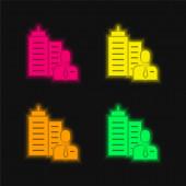 Főnök négy szín izzó neon vektor ikon