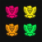 Americká čtyři barvy zářící neonový vektor ikona
