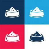 Mísa modrá a červená čtyři barvy minimální sada ikon
