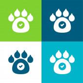 Povolená zvířata Plocha čtyři barvy minimální ikona nastavena