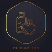 Apfel und Wasserflasche goldene Linie Premium-Logo oder Symbol