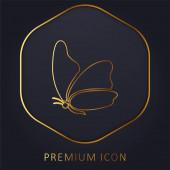 Nagy szárny pillangó arany vonal prémium logó vagy ikon