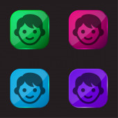 Chlapec čtyři barvy skleněné tlačítko ikona