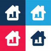 Sloupcový graf modrá a červená čtyři barvy minimální ikona nastavena