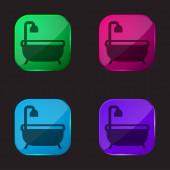 Vana vana čtyři barvy skleněné tlačítko ikona