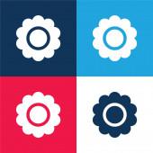 Virág kék és piros négy szín minimális ikon készlet