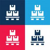Doboz kék és piros négy szín minimális ikon készlet