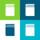 Buch Flache vier Farben minimalen Symbolsatz