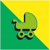 Baby Carriage Zelené a žluté moderní 3D vektorové logo