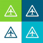 Airport Traffic Triangular Signal Of An Airplane Flat four color minimal icon set