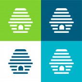Včelí Byt čtyři barvy minimální ikona nastavena