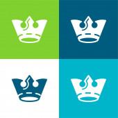 Crown Flat four color minimal icon set