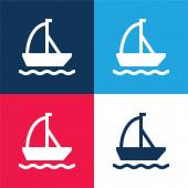 Loď modrá a červená čtyři barvy minimální ikona nastavena