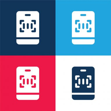 Barcode blue and red four color minimal icon set stock vector