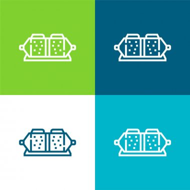 Brake Pad Flat four color minimal icon set stock vector
