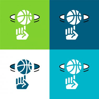 Ball Flat four color minimal icon set stock vector