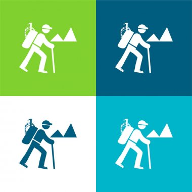 Backpacker Hiking Flat four color minimal icon set stock vector