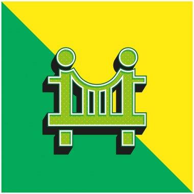 Bridge Green and yellow modern 3d vector icon logo