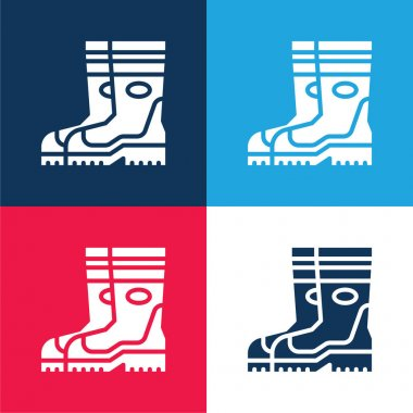 Boots blue and red four color minimal icon set stock vector