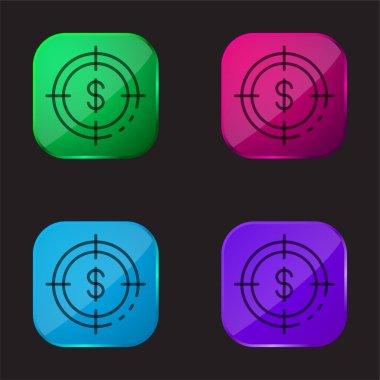 Aim four color glass button icon stock vector