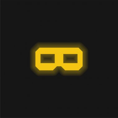 3D Glasses yellow glowing neon icon stock vector